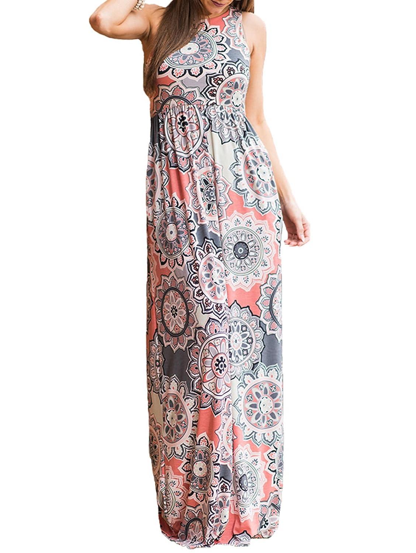 aa6028ae8e0 SWQZVT Women s Summer Bohemian Floral Dresses Sleeveless Pockets Racerback Scoop  Neck Casual Long Maxi Tank Dress(S-XL) at Amazon Women s Clothing store