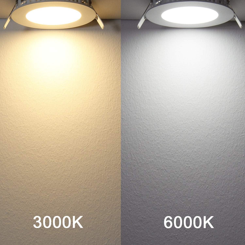 Yafido LED spot encastr/é Dimmable Ultra-plats LED Encastr/é Lampe Plafonnier Plat Rond 12W 960 Lumen Blanc Chaud 3000K Equivalent 70W Incandescence Pour salle de bain Cuisine Salon Couloir Lot de 5