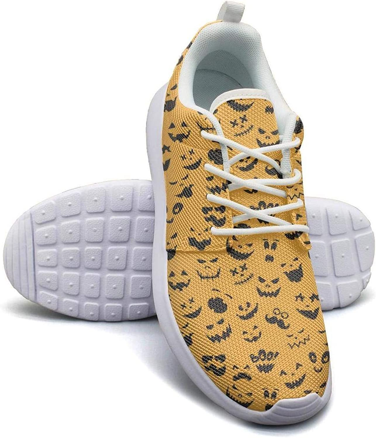 Happy Halloween Cat Owl Ghost Yellow Womens Lady Skateboard Breathable Fitness Shoe