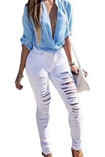 BoBoLily Pantalon Chino Femme Femme Printemps Automne Trous Longues  Pantalons Jeune Mode Mode Pantalon De Loisirs 3c945b3f392