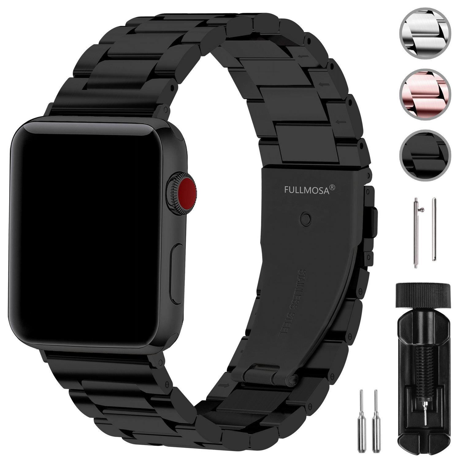 Fullmosa Stainless Steel Metal for Apple Watch Bands Black