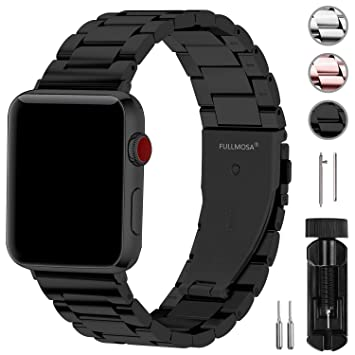 Fullmosa Acero Inoxidable Correa Compatible Apple Watch/iWatch Serie 5, Serie 4, Serie 3, Serie 2, Serie 1, Apple Watch Correa 38mm 42mm, Negro 42mm
