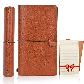 MagicHome Cuaderno Vintage, Agenda de Notas de Cuero, Leather Notebook Journal, Diario de Viaje Libreta, con 3+2 Folletos Separados, Ideal Como ...
