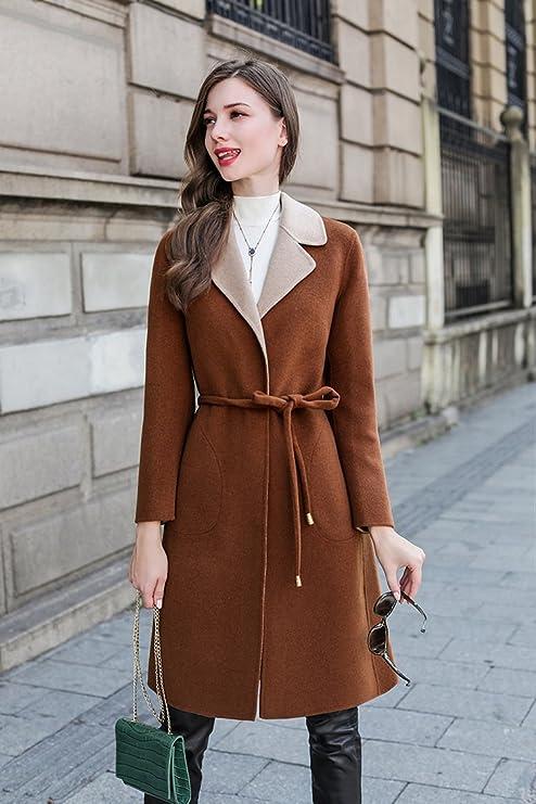 Womens HIDRRU Lana este niño-abrigo de lana en el invierno de 2017, de