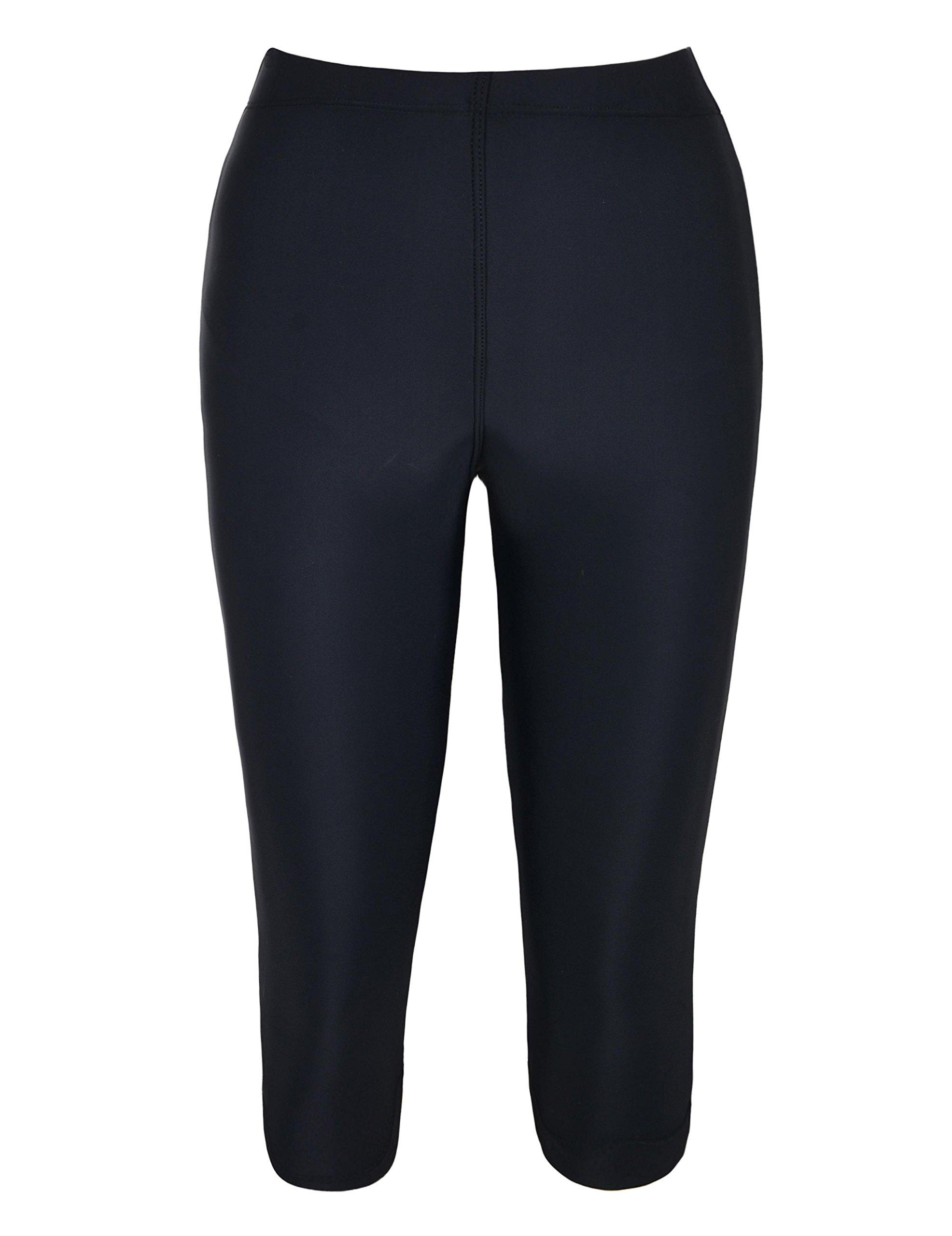82706630f74 Firpearl Women's High Waisted Swim Shorts Skinny Crop Leggings Capris Pants Swimsuit  Bottom Black 10
