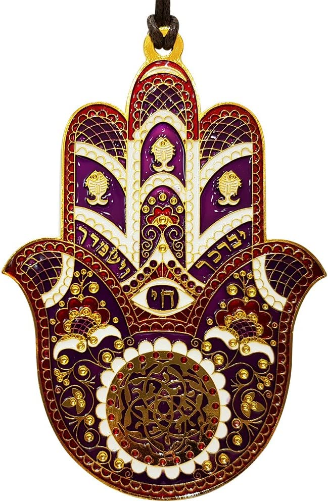 TALISMAN4U Red Enamel Good Luck Hamsa Hand Wall Hanging Home Decor Hebrew Priestly Blessing Evil Eye Protection Gift 4