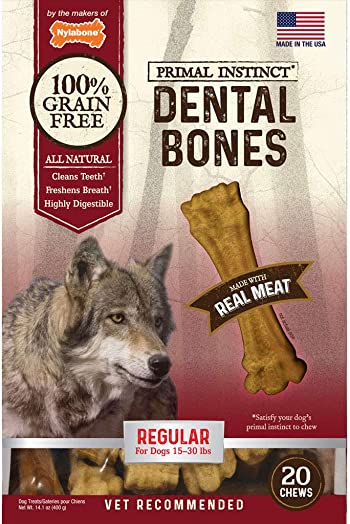 Nylabone Primal Instinct Real Meat Dog Dental Chews
