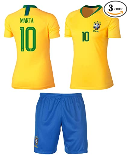 908f8c6eb Brazil Marta  10 Girls Soccer Jersey Home Short Sleeve Kit Shorts Youth  Sizes Gift Set. Roll over image to zoom in