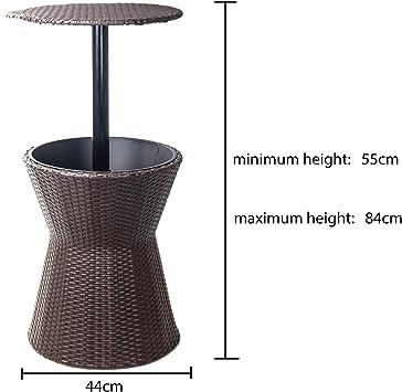 Dawoo Patio Al Aire Libre Estilo De Mimbre Barra Fría Refrigerador De Hielo Mesa Muebles De Jardín Cubo De Hielo (Diámetro: 44 Cm Altura: 55-84 Cm): Amazon.es: Hogar