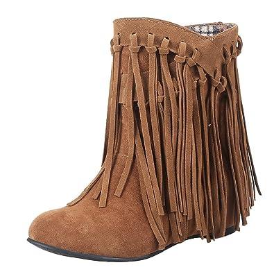 f0d470bc019f8 YE Damen Keilabsatz Ankle Boots High Heels Stiefeletten mit Fransen 4cm  Absatz Elegant Schuhe