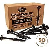Piquetas de jardín de 150 mm de Groundmaster–piquetas de sujeción anti-tirón estabilizadas para los rayos UV. Ideales para vellón, tejido para el control de maleza, membranas, lonas, mallas y cubiertas., GM/PEGS50