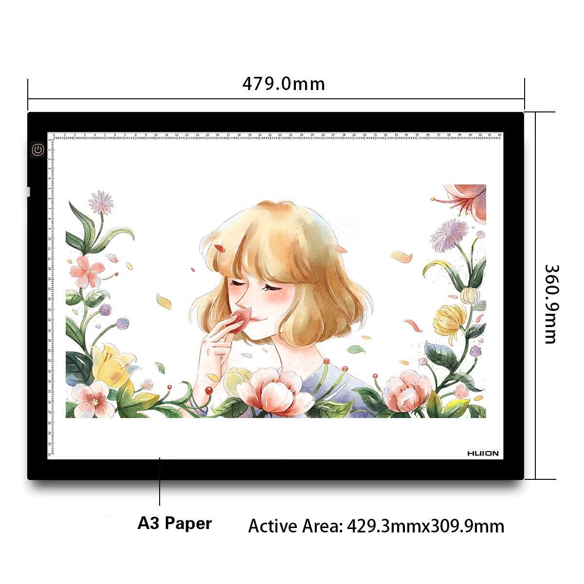 HUION 36x 27cm A4LED adjustable brightness light pad, light stand