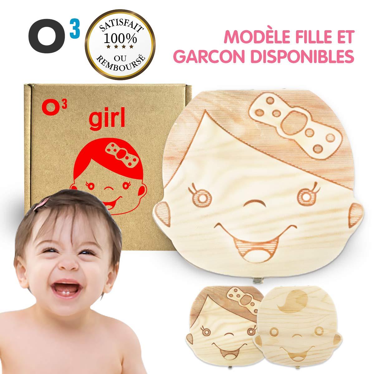 O³ Boite a Dents de Lait - Boite en Bois de pin idéal comme Cadeau de Naissance- Inscriptions en Français - Modèle Fille et Garçon Disponible (Fille)