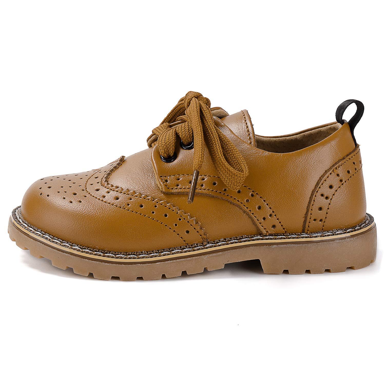 GESDY Kids Leather Oxfords Dress Shoes Hollow Hole Lace up School Uniform Shoes