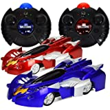 Wall Climbing Cars - Set of 2 - Red and Blue Cars  Remote Control Mini RC Toys - Frustration Free Packaging