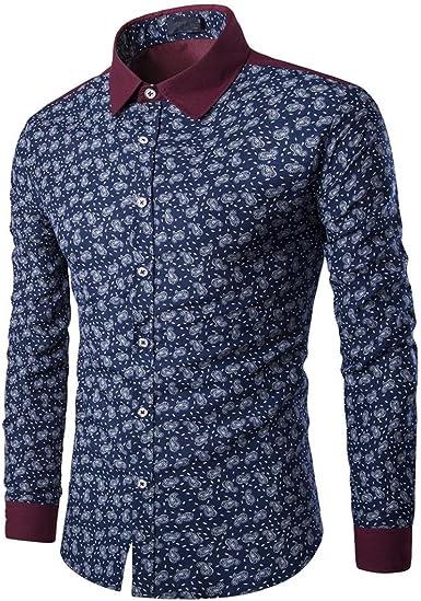 Toamen Camisa para Hombre Delgada del Ajuste De La Manera del OtoñO del Hombre Imprimir Blusa Top Camisa De Manga Larga …