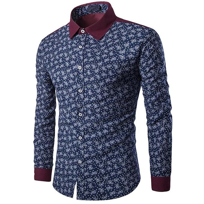Toamen Camisa para Hombre Delgada del Ajuste De La Manera del OtoñO del Hombre Imprimir Blusa Top Camisa De Manga Larga ...: Amazon.es: Ropa y accesorios