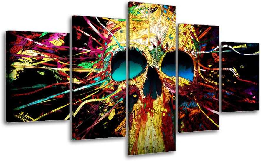 Abstract Skull Canvas Wall Art, PIY Gallery Canvas Prints Home Décor Picture, Waterproof Giclee Print Oil Paintings for Bedroom, 24x50 Overall by 5 Piece Ready to Hang Artwork