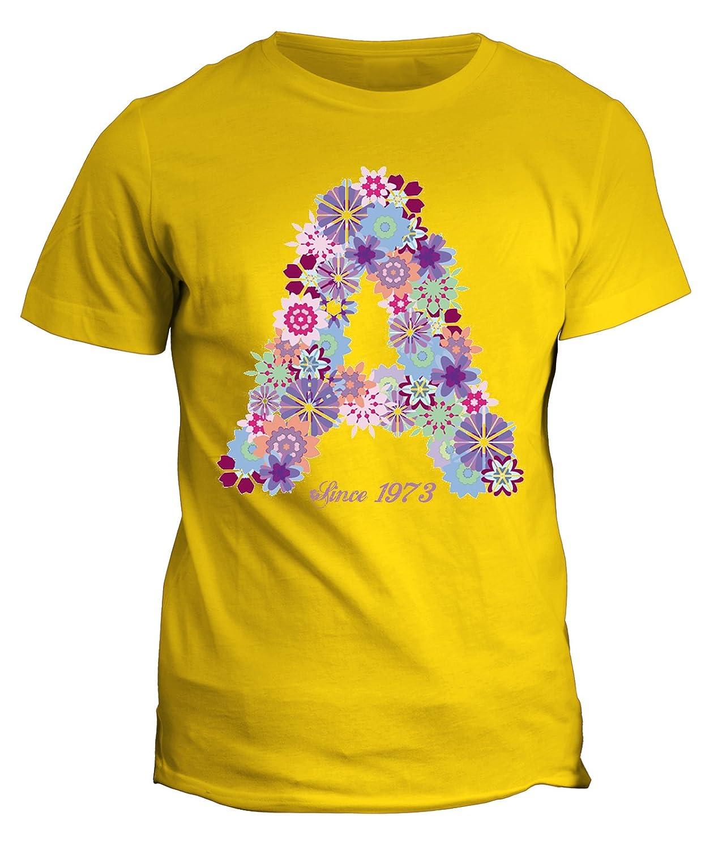 fashwork Tshirt Nombre con Inicial Flores a Since 1973 ...