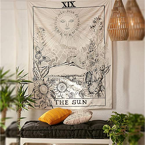 PAKASEPT Tarot Tapestry, Art Wall Tapestry Home Decoration Mural Tarot Medieval Tapestry Living Room The Sun, 79 x59