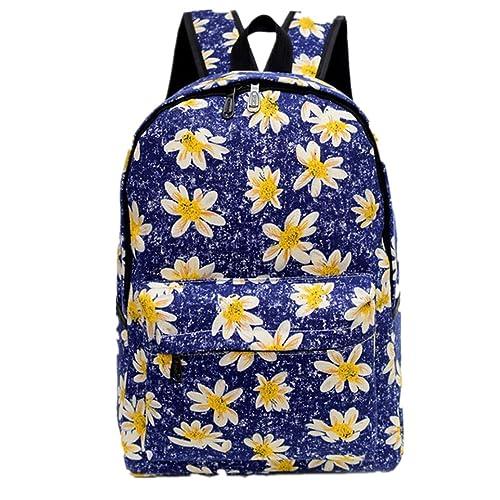 Clode® Bolso de hombro de mujer flor patrón tela mochila mochila escolar bolsa libro (Azul 1): Amazon.es: Zapatos y complementos