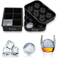 FYLINA SU001 Ice Tray 2 Packs Ice Cube Moulds Silicone Black