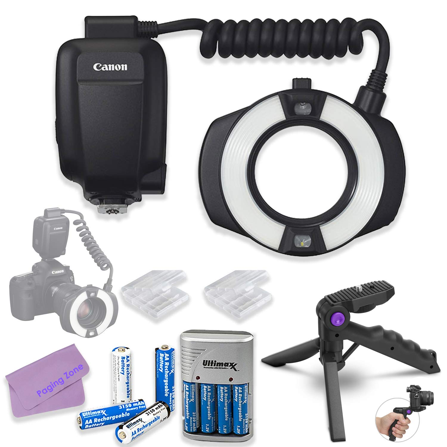 Canon MR-14EX II Macro Ring Lite Bundle with AA Batteries & Charger + Steady Grip Tripod