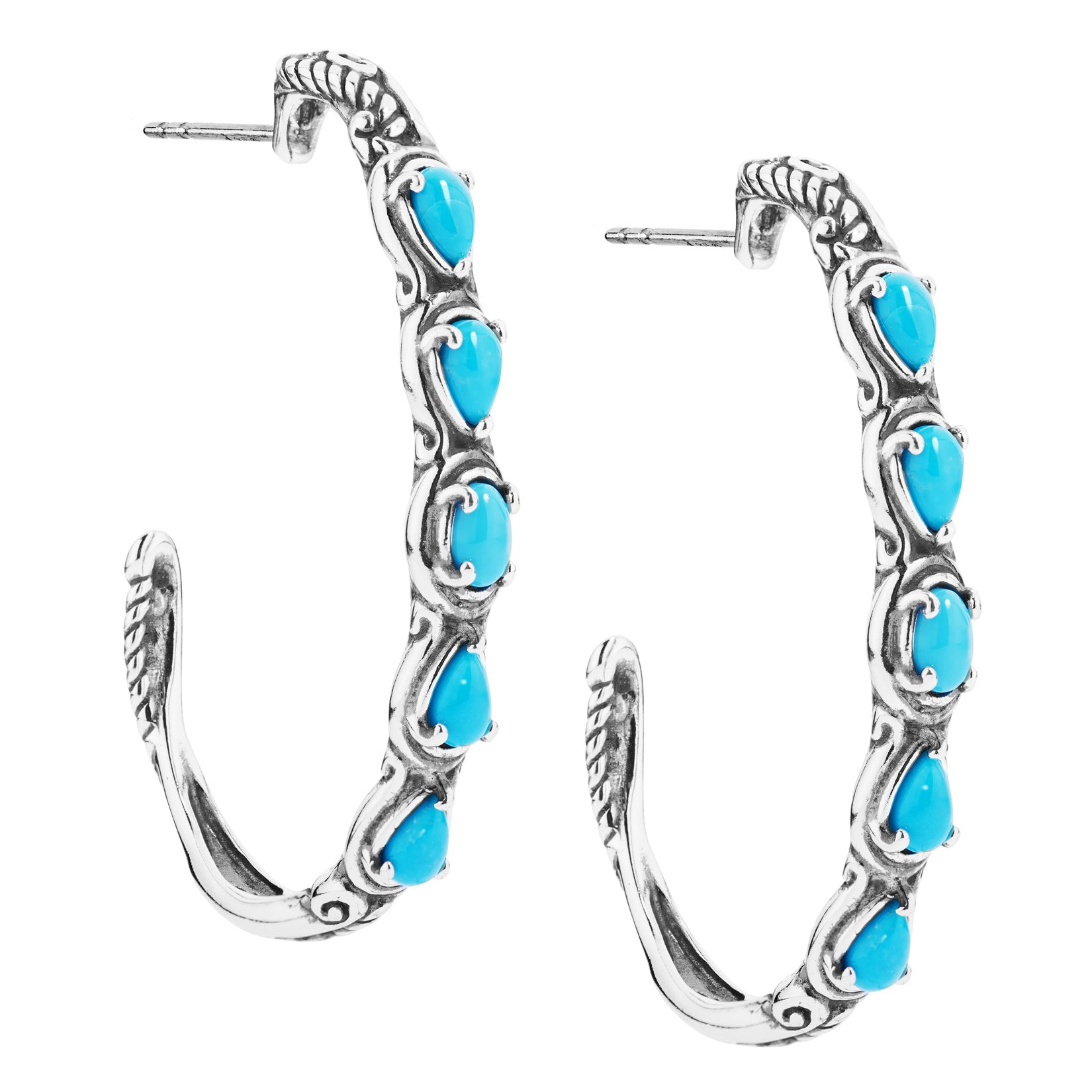 Simply Fabulous Sterling Silver & Turquoise 1 1/2 Inch Hoop Earrings