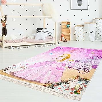 carpet city Kinder-Teppich Druckteppich Flachflor Polyester Waschbar  Cinderella Prinzessin Kutsche Rosa Pink Mädchen Kinderzimmer 130x200 cm