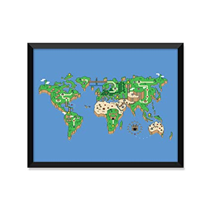 Amazon mario brothers nintendo world map modern illustration mario brothers nintendo world map modern illustration minimalist poster home decor college gumiabroncs Image collections
