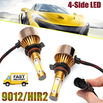 H7 16000LM 4-Sides LED Headlight Kit High or Lo Light Bulb 6000K Car White Pair
