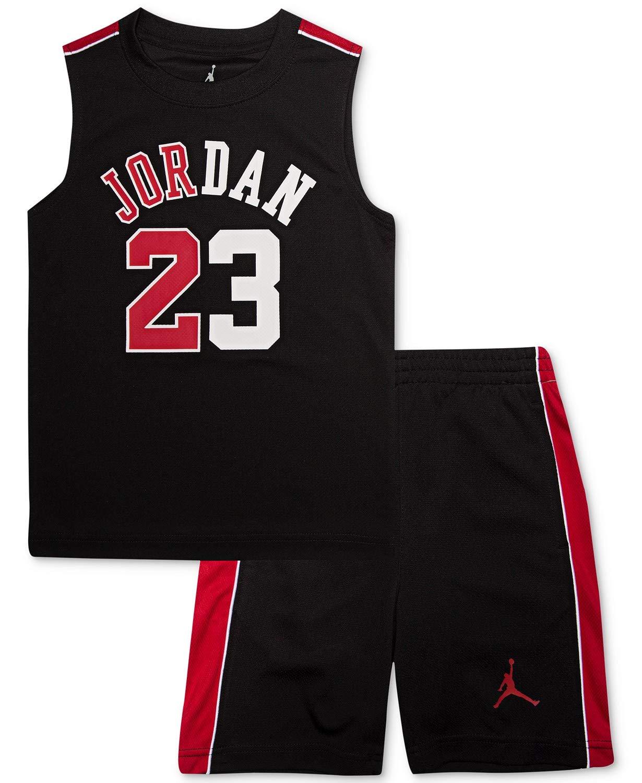 Jordan Air Boy`s T-Shirt and Shorts 2 Piece Set (Black(855891-023)/Red, 5)