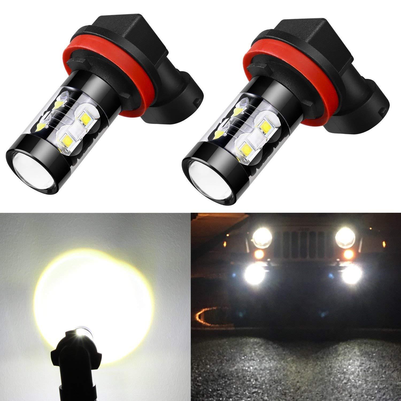 Alla Lighting H11 LED Fog Light Bulbs Super Bright H11 LED Bulb High Power 50W 12V LED H11 Bulb for H8 H16 H11 Fog Light Bulbs Replacement, 6000K Xenon White (Set of 2)