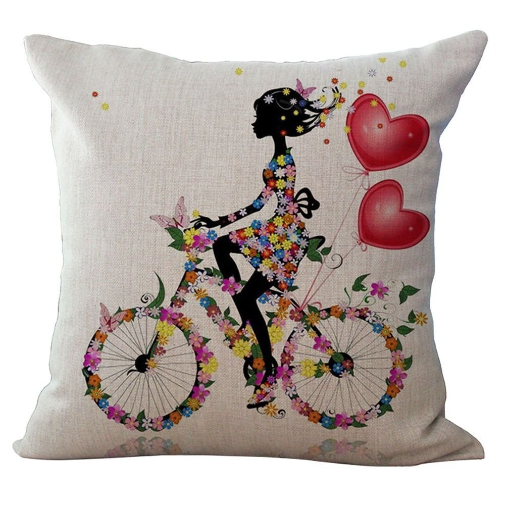Digital Printing Design Fairy/Flower/butterfly Throw Pillow Cotton Linen Cushion - Pattern F MMRM LEPEA1173