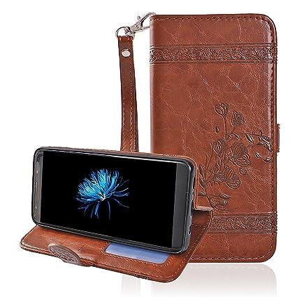 Moon mood® Galaxy S9 Plus Funda de Piel, Flip Funda Libro de PU Cuero