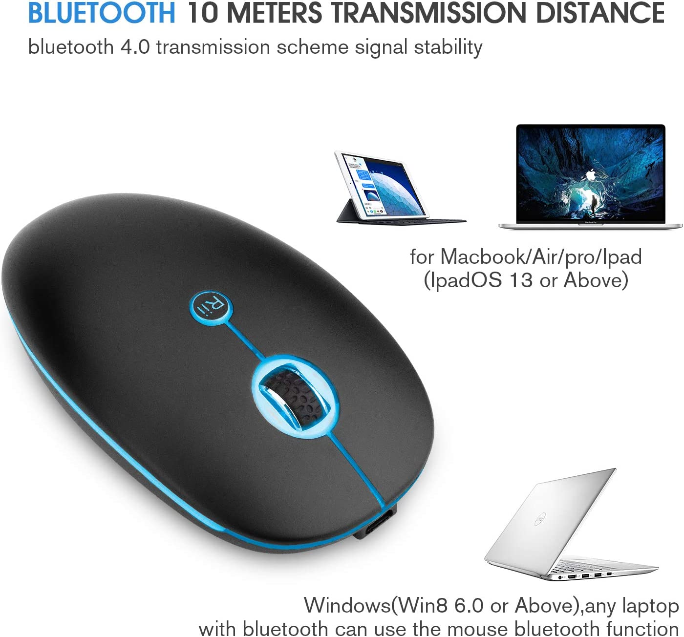 Bluetooth Mouse,Rii RM300 Slim Rechangable 2.4GHZ Wireless and Bluetooth Mouse,Optocal Mouse with USB Receiver,with Backlit for Windows//MacBook pro MacBook Air//iMac//Laptop//Notebook//Ipad//iPhone