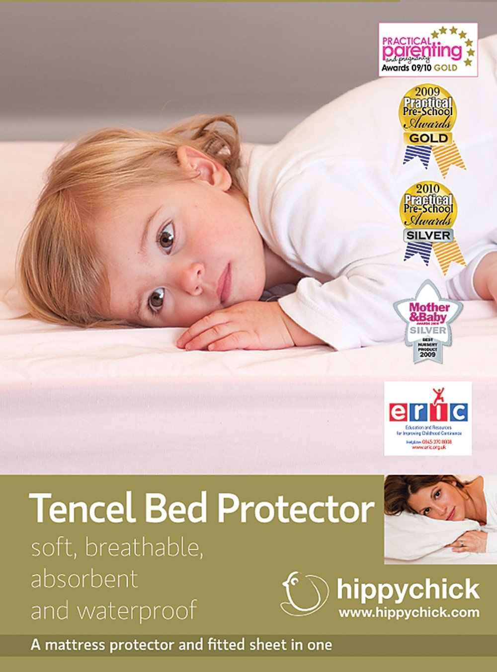 Hippychick Tencel Fitted Mattress Protector, 70 x 140 cm Cot/Bed - Pale Lemon HCTBP1CPYL