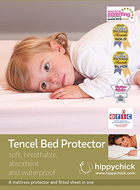 70 x 140 cm Cot//Bed Pale Pink Hippychick Tencel Fitted Mattress Protector