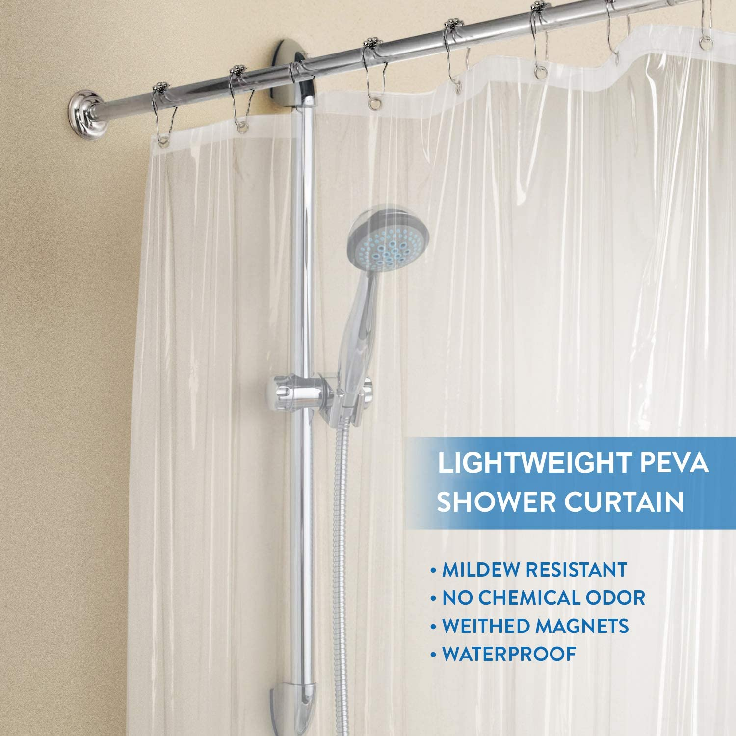 PEVA 3 Gauge Light Weight,Waterproof,Odorless with Rust-Resistant Grommets Holes downluxe Set of 3 Clear Shower Curtain Liner 72x72