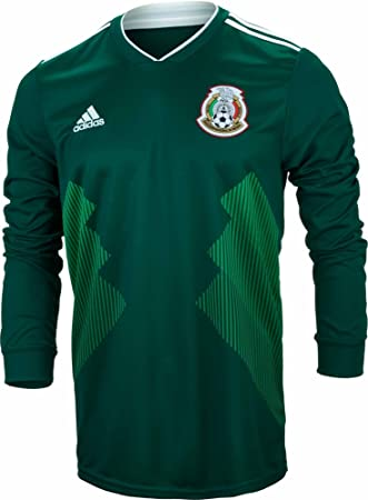 Amazon.com   adidas Men s Soccer Mexico Home Long Sleeve Jersey ... a9076bd8a