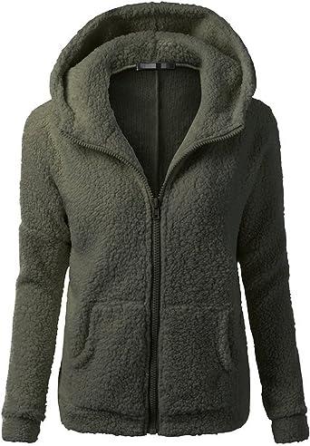 Sueetyus Womens Full Zip Up Sherpa Fleece Hoodie Jacket Coat Winter Warm Outwear SUWXYHTX03