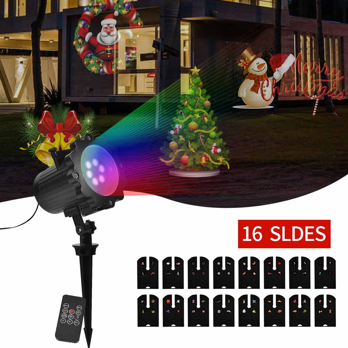 Christmas Led Projector Lights, GOODAN 16 Pattern, Range 40ft Projection Distance Holiday Light Projector, IP65 Waterproof Landscape Garden LED Lights for Various Themes Halloween, Christmas, etc.