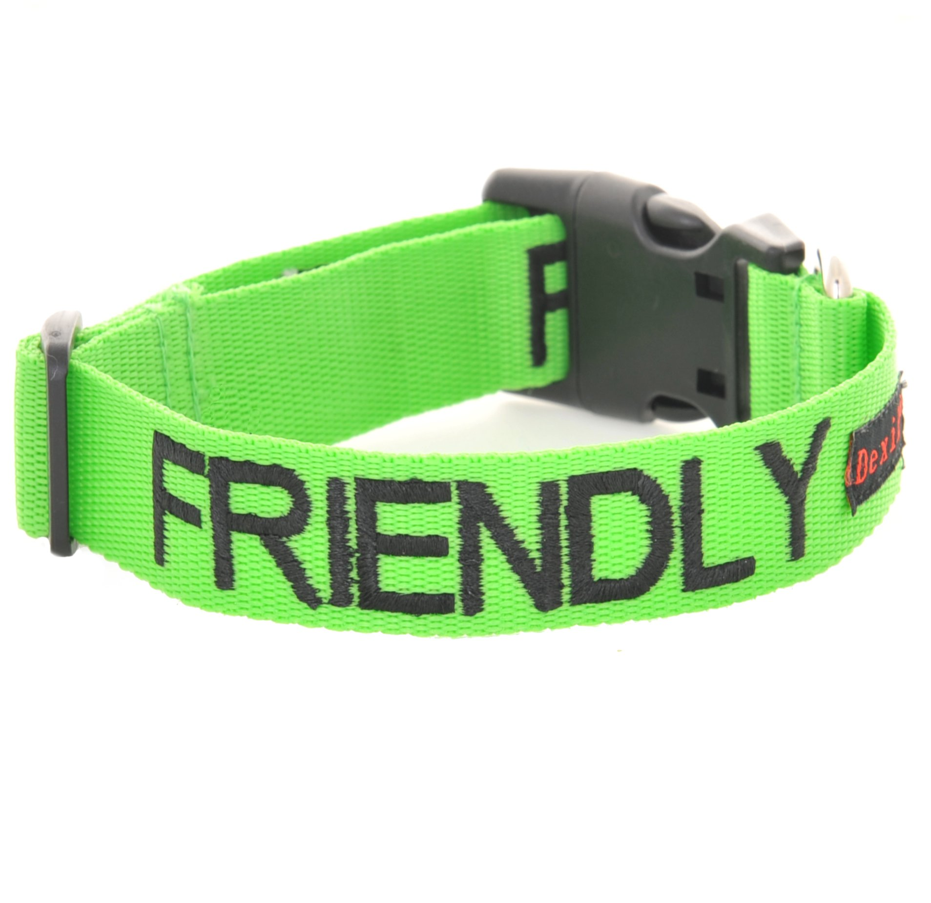 ''FRIENDLY'' Green Color Coded S-M L-XL Buckle Dog Collar (Known As Friendly) PREVENTS Accidents By Warning Others of Your Dog in Advance! (S-M Collar 10-17''Lx1''W)