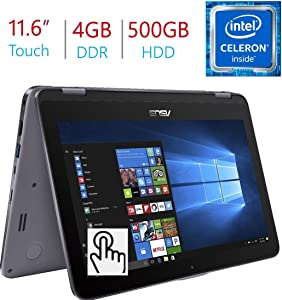 "2018 Newest Business Asus VivoBook Flip 11.6"" 2-in-1 HD Touchscreen Laptop/Tablet, Intel Dual Core N3350, 4GB DDR3 RAM, 500GB HDD, WiFi, FingerPrint Reader, Windows 10 Home, Stylus Pen Included"