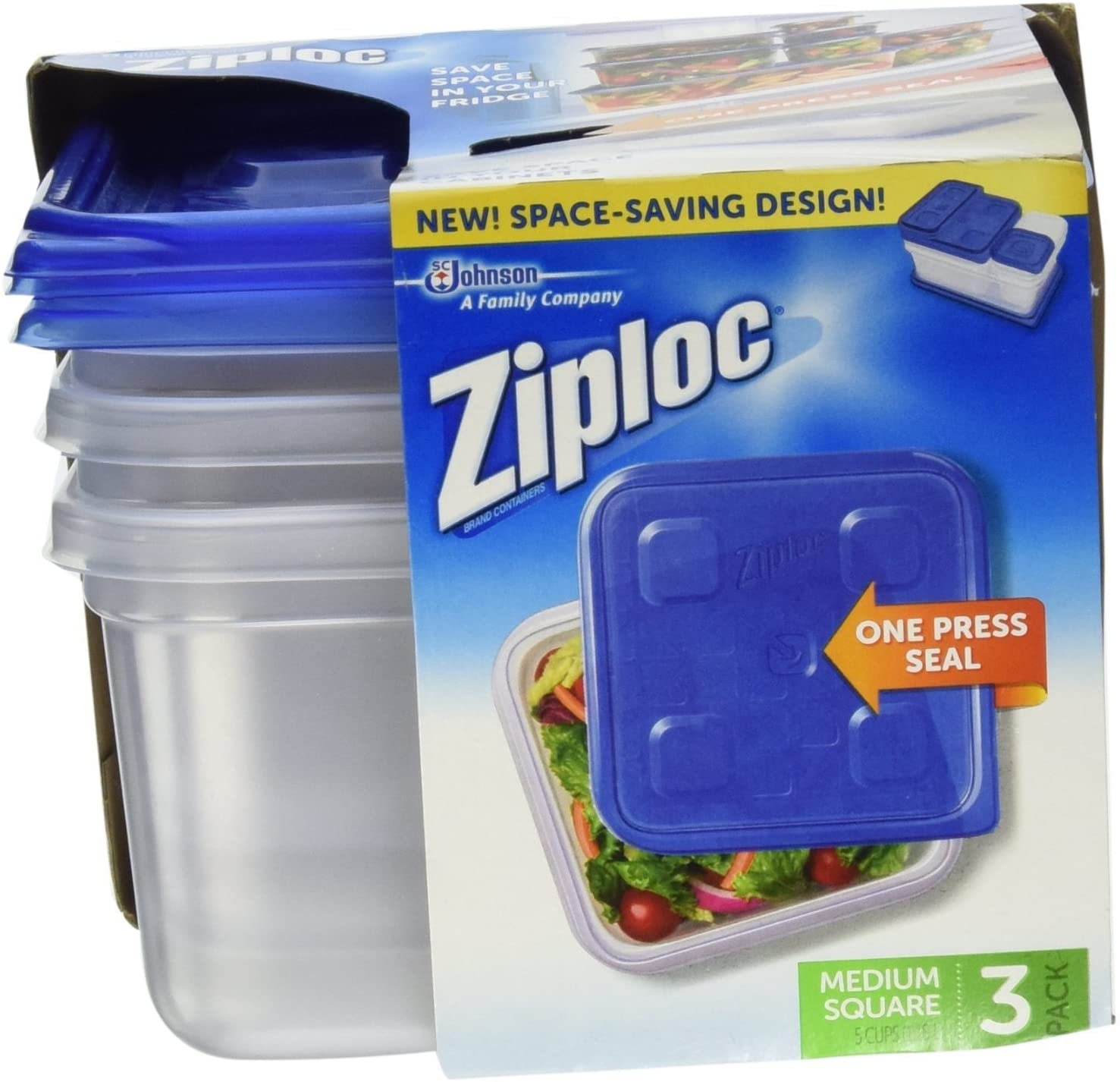 Ziploc Container Med Square 3ct