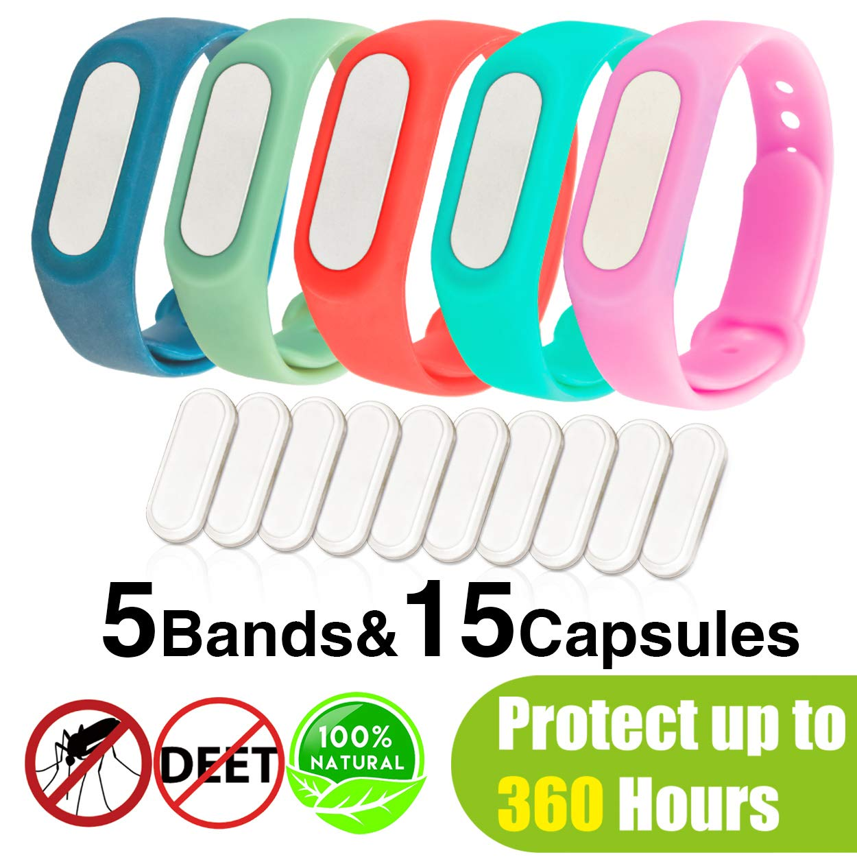 5pcs Mosquito Repellent Bands, Deet-free and Natural Insect Repellent Bracelet, Reusable Waterproof Silicone Wristbands for Children & Adults (15 Capsules)