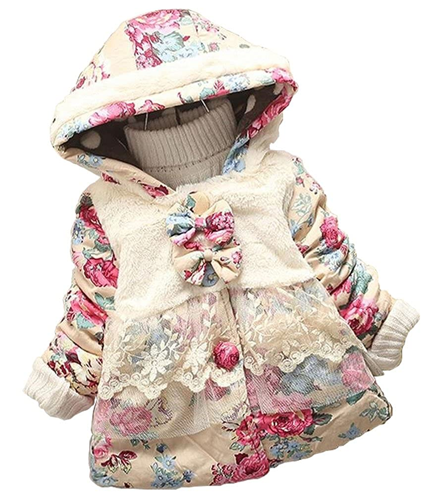 EGELEXY Baby Girl Floral Bowknot Thickened Warm Jacket Winter Coat