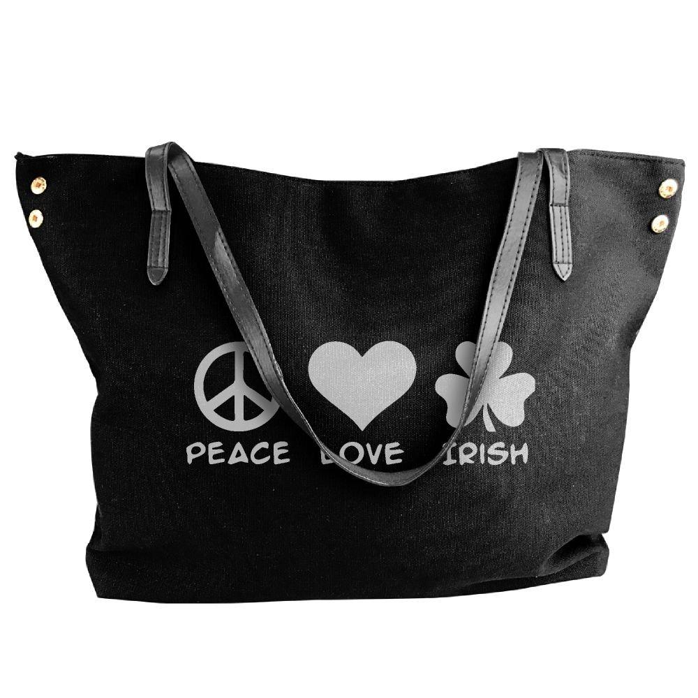 Women's Canvas Large Tote Shoulder Handbag Peace Love Irish Hobo Handbag Bag Tote
