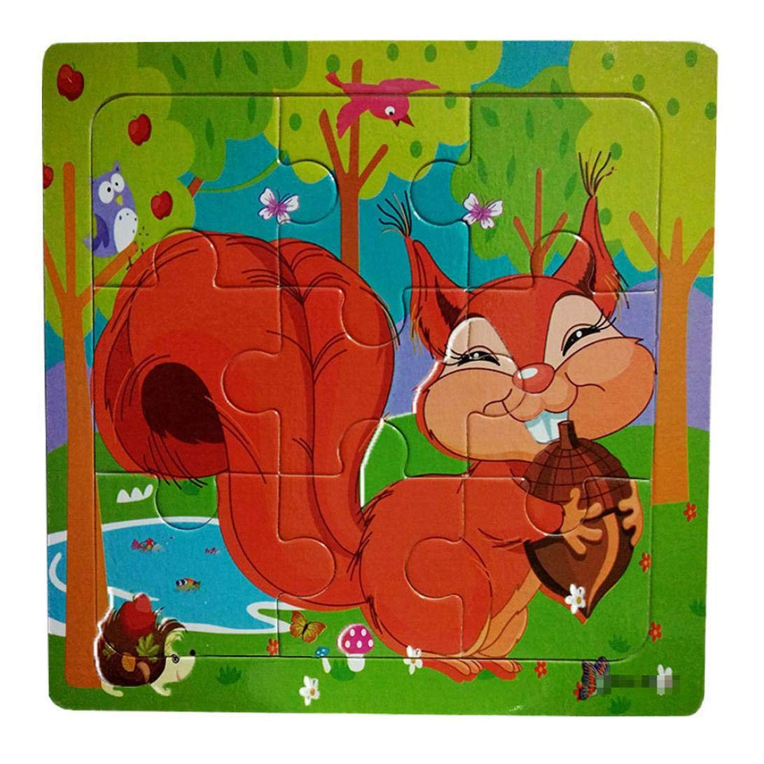 Roysberry Toys - 9 Pcs Kids Animal Wooden Puzzles Toys Squirrel 3D Puzzle Shape Color - Birthday Gift Christmas Halloween Toy Jigsaw Puzzles for Kids Ages 4-8