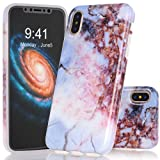 BAISRKE iPhone X Case, Blue Brown Marble Creative
